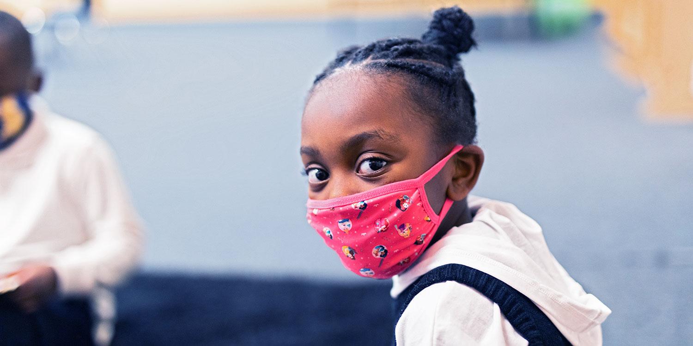 Masked elementary students.